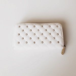 Handbags - White quilted leather studded wallet